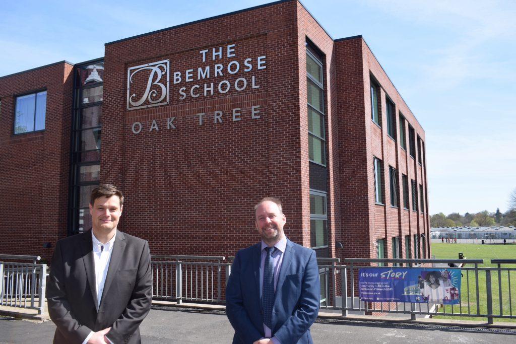 L-R Mark Fryers with James Dachtler from Bemrose School launch school transition software